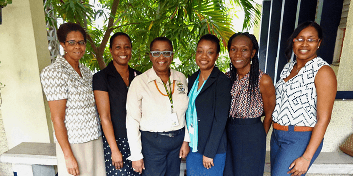 From Left to Right: Dr. Marcia Williams, Programme Director, BSc. Pharmaceutical Technology; Ms. Carren Brown, Executive Assistant; Dr. Ellen Campbell-Grizzle, Dean, College of Health Sciences; Ms. Nickania Pryce, Lecturer in Pharmaceutics; Mrs. Stancy Mighty, Technical Officer; Ms. Tieca Harris, Lecturer in Pharmaceutics.