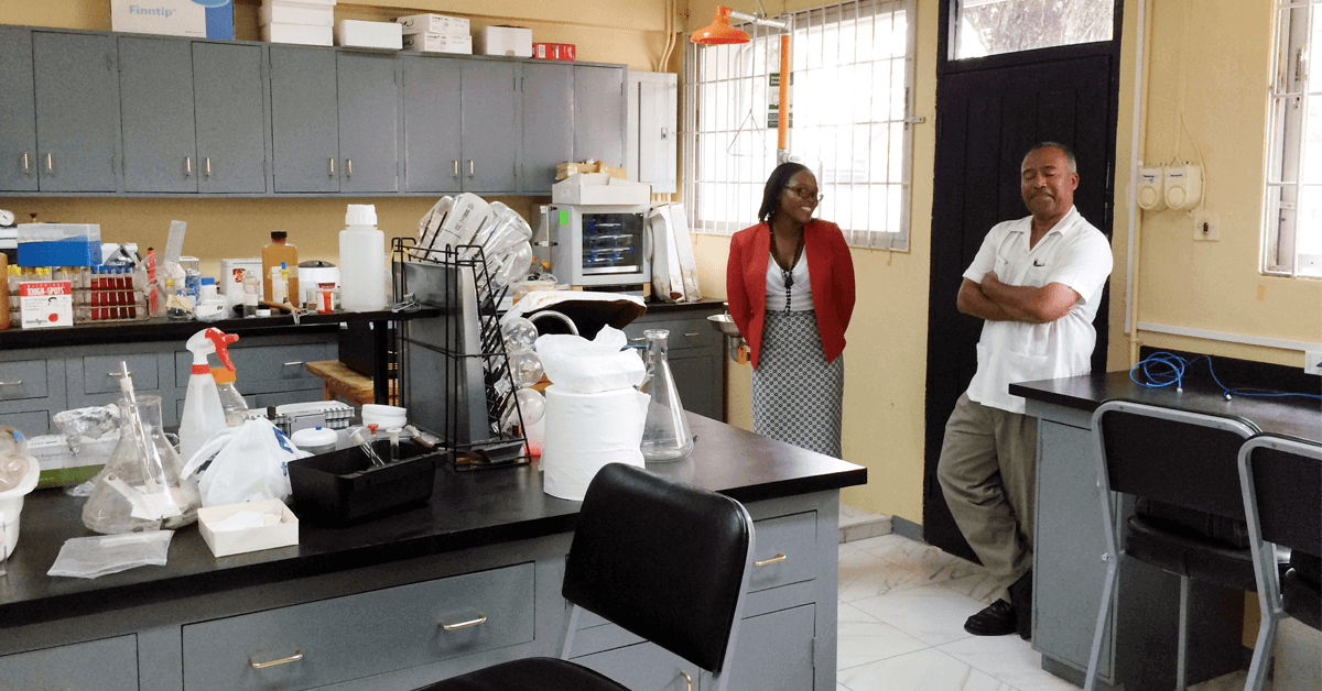 Dr Collins-Fairclough in the lab at UTech